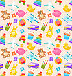Illustration Seamless Pattern With Colorful Children Toys. Funny Texture With Cartoon Baby Joys - Vector
