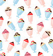 Illustration Seamless Pattern With Colorful Ice Creams, Sweet Wallpaper - Vector