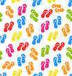 Illustration Seamless Pattern Colorful Pairs Of Flip-flops, Summertime Background - Vector