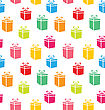 Illustration Seamless Pattern Of Colorful Simple Gift Boxes, Holiday Wallpaper - Vector