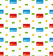 Illustration Seamless Pattern With Credit Cards, Bank Notes, Coins, Flat Finance Icons - Vector
