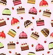 Illustration Seamless Pattern With Different Cake Sweet Wallpaper - Vector