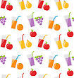 Illustration Seamless Pattern With Different Fresh Fruit Juices - Vector