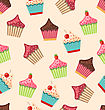 Illustration Seamless Pattern With Different Muffins Sweet Wallpaper - Vector