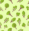 Illustration Seamless Pattern With Different Trees In Flat Style - Vector