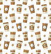 Illustration Seamless Pattern With Disposable Coffee Cups. Wallpaper With Simple Flat Icons - Vector