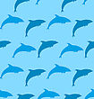 Illustration Seamless Pattern With Dolphin, Marine Mammal Animal - Vector