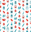 Illustration Seamless Pattern With Flat Medical Icons, Repeating Backdrop - Vector