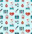 Illustration Seamless Pattern With Flat Medical Icons, Periodic Backdrop - Vector