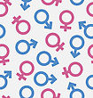 Illustration Seamless Pattern Of Gender Icons, Wallpaper Of Male And Female Symbols - Vector