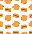 Illustration Seamless Pattern With Hamburgers. Fast Food Wallpaper - Vector