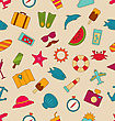 Illustration Seamless Pattern With Hand Drawn Travel Objects And Icons. Summer Colorful Texture. Vintage Style - Vector