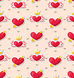 Illustration Seamless Pattern With Hearts For Valentines Day. Simple Bright Wallpaper - Vector