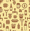Illustration Seamless Pattern With Icons Of Beers And Snacks, Old Food Wallpaper - Vector