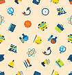 Illustration Seamless Pattern With Icons Of Education Subjects, School Background - Vector