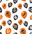 Illustration Seamless Pattern With Party Colorful Balloons For Happy Halloween - Vector