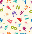 Illustration Seamless Pattern Of Party Colorful Icons, Wallpaper For Holidays - Vector