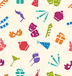 Illustration Seamless Pattern Of Party Objects, Wallpaper For Holidays - Vector