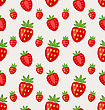 Illustration Seamless Pattern Of Ripe Strawberry, Retro Wallpaper - Vector