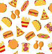 Illustration Seamless Pattern With Set Fast Food Flat Icons. Sandwiches, Hot Dogs, Hamburgers, Slices Of Pizza, Taco, Chicken Legs, French Fries - Vector