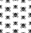 Illustration Seamless Pattern With Simple Spiders, Halloween Wallpaper - Vector