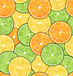 Illustration Seamless Pattern With Slices Of Oranges, Lemons And Limes, Sweet Wallpaper - Vector