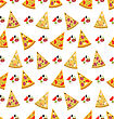 Illustration Seamless Pattern With Slices Of Pizza. Colorful Food Wallpaper - Vector stock vector
