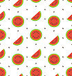 Illustration Seamless Pattern With Slices And Seeds Of Watermelon - Vector