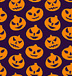 Illustration Seamless Pattern With Spooky Pumpkins, Halloween Wallpaper - Vector