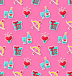 Illustration Seamless Pattern With Traditional Objects And Elements For Valentines Day. Bright Wallpaper - Vector
