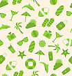 Illustration Seamless Pattern Of Travel On Holiday Journey, Summer Flat Icons - Vector