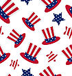 Illustration Seamless Pattern With Uncle Sam's Top Hat And Stars For American Holidays, Repeating Backdrop - Vector