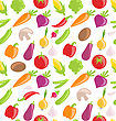 Illustration Seamless Pattern Of Vegetables, Wallpaper With Organic Food - Vector
