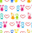 Illustration Seamless Romantic Wallpaper With Couple Of Colorful Kids - Vector