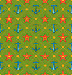 Illustration Seamless Summer Pattern With Anchor And Starfish. Vintage Texture. Can Be Used For Wallpapers, Web Page Backgrounds - Vector