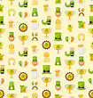 Illustration Seamless Template With Cartoon Colorful Flat Icons For Saint Patricks Day, Traditional Irish Background - Vector