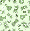 Illustration Seamless Texture With American Paper Money, Bag Of Dollars And Coins - Vector