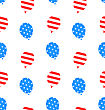 Illustration Seamless Texture Balloons For Independence Day Of America, US National Colors - Vector