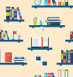 Illustration Seamless Texture With Books On Bookshelves, Flat Minimal Design Style - Vector