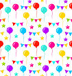 Illustration Seamless Texture With Bunting Party Flags, Balloons, Stars For Your Designs (Birthday Party, Wedding Celebration, Wrapping Paper, Textile, Wallpaper) - Vector