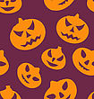 Illustration Seamless Texture With Carving Pumpkins, Halloween Giftwrap - Vector