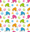 Illustration Seamless Texture With Colorful Cartoon Elephants - Vector