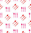 Illustration Seamless Texture Of Colorful Cutlery, Wallpaper With Spoons, Forks, Knifes - Vector