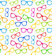 Illustration Seamless Texture With Colorful Eyeglasses - Vector