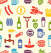 Illustration Seamless Texture With Colorful Icons Of Beers And Snacks, Food Wallpaper - Vector