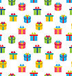 Illustration Seamless Texture Of Colorful Present Boxes - Vector