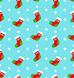 Illustration Seamless Texture With Colorful Socks, Christmas Pattern - Vector