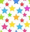 Illustration Seamless Texture With Colorful Stars, Elegance Kid Pattern - Vector