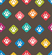 Illustration Seamless Texture With Colorful Traces Of Cats, Dogs. Footprints Of Paws Pets - Vector