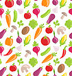 Illustration Seamless Texture Of Colorful Vegetables, Wallpaper With Simple Icons - Vector